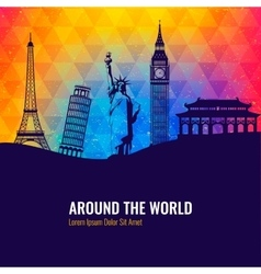 Travel background with famous world landmarks vector image vector image