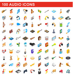 100 audio icons set isometric 3d style vector image