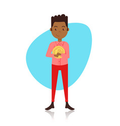 African american man character holding euro coin vector