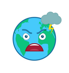 angry world globe isolated emoticon vector image