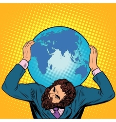 Atlas businessman holds the Earth on his shoulders vector image