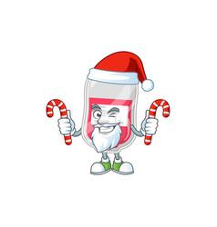 Bag blood humble santa cartoon having candies vector