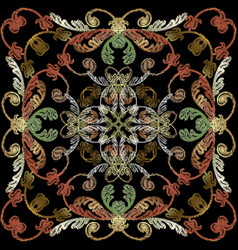 baroque embroidery panel pattern floral vintage vector image