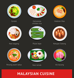 big set of malaysian food asian traditional vector image