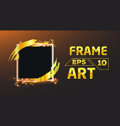 black with gold brush frame art vector image