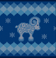 Blue knitted background with sheep vector