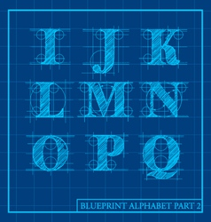 Blueprint Style Alphabet Set 2 vector image