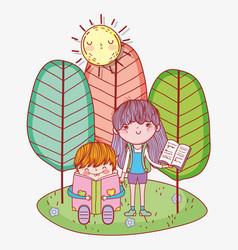 Boy sitting reading book and girl holding textbook vector
