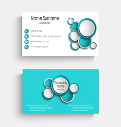 Business card with blue abstract circles template vector image