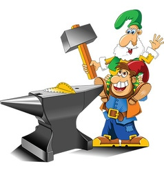 Cartoon gnome with anvil vector image