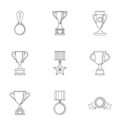 Championship icons set outline style vector