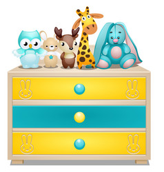 Childrens chest of drawers with plush toys vector