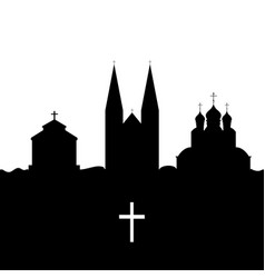 Christianity temple and cross vector