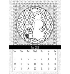 Christmas penguin with gift calendar june 2018 vector