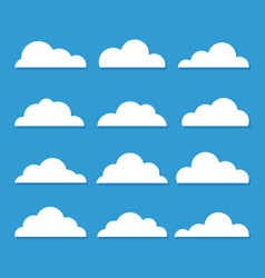 collection stylized cloud silhouettes set of vector image