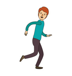 Color image caricature full body guy with vector