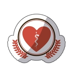 Color sticker of heart with health symbol with vector