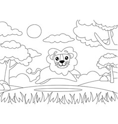 Coloring page a lion running happily vector