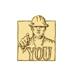 Construction Worker Pointing You Etching vector image