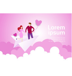 couple holding hands fly on paper plane over pink vector image