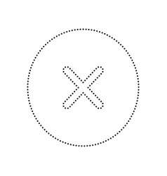 Cross sign black dotted icon vector