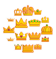 crown gold icons set cartoon style vector image