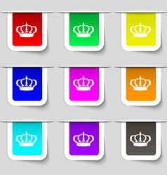 Crown icon sign Set of multicolored modern labels vector image