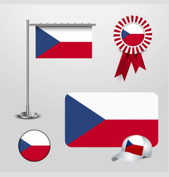 czech republic country flag haning on pole ribbon vector image