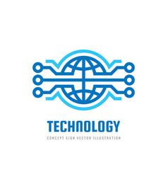 digital world - business logo template vector image