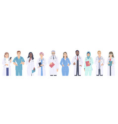 diverse people medical workers male and female vector image