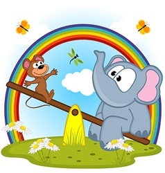 elephant and mouse riding on seesaw vector image
