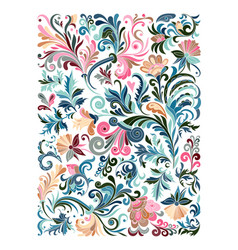 ethnic colored floral entangle doodle background vector image