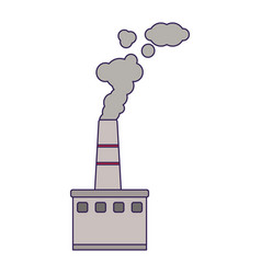 Factory industry with smoking pollution blue lines vector