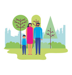 family parents and son together in the park vector image
