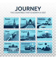 Flat travel with different landmarks vector