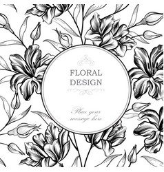 Floral background greeting card with flower vector