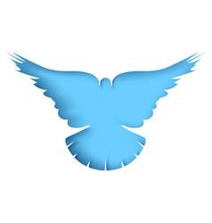 flying dove - cartoon paper vector image