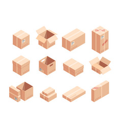 fragile parcels isometric 3d vector image