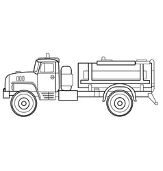 fuel truck car sketch coloring book isolated vector image