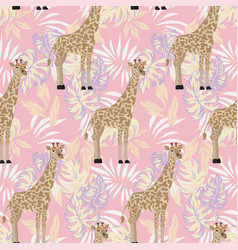 giraffe seamless pattern abstract leaves pink vector image
