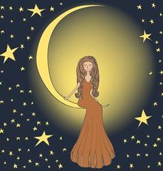 girl on moon vector image
