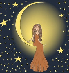 Girl on the moon vector