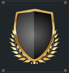 golden shield and laurel wreath retro design 20 vector image