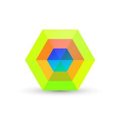 green abstract hexagon business logo vector image