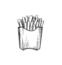 hand drawn french fries fast food junk food icon vector image