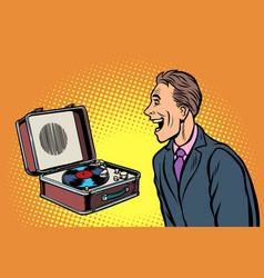 happy man listening to music retro vinyl record vector image