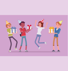 happy people at birthday party celebration vector image