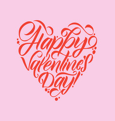 happy valentines day white lettering pink vector image