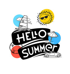 hello summer concept cute summer elements for web vector image
