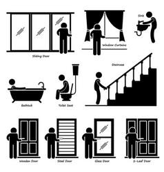 Home house indoor fixtures stick figure pictograph vector